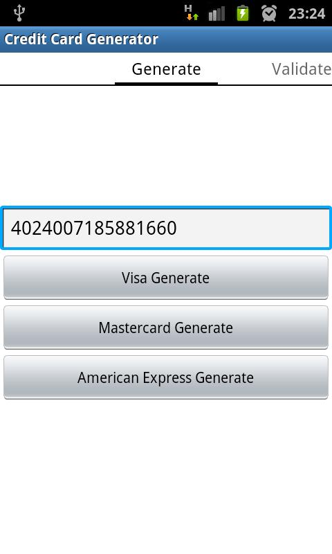 Credit / Debit Card Generator - screenshot