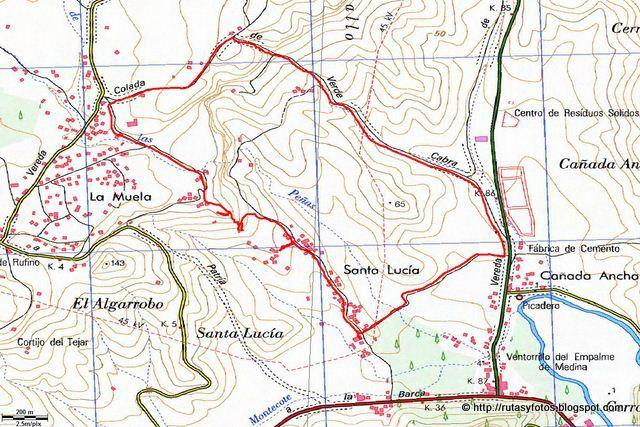 Mapa ruta molinos de agua de Santa Lucía