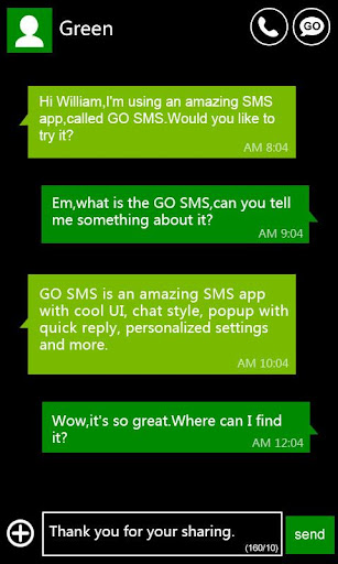 GO SMS Pro WP8 Green ThemeEX