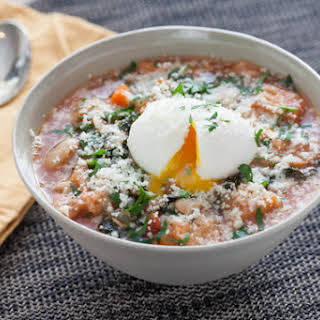 Tuscan Ribollita Soup with Soft-Boiled Farm Eggs & Lacinato Kale.