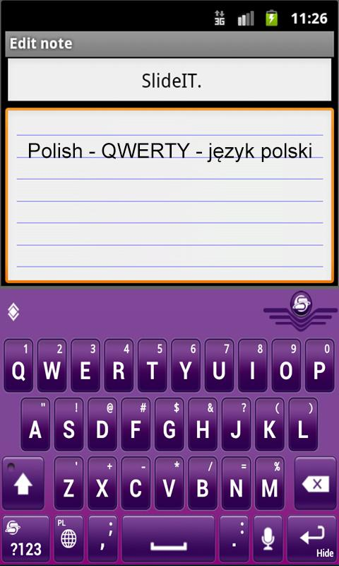 SlideIT Polish QWERTY Pack - screenshot