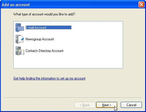 Window Live Mail Add account