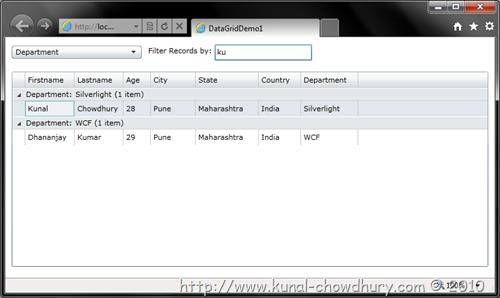 Filtering Records in Silverlight DataGrid using