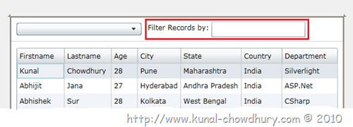 Filtering records in silverlight datagrid using.