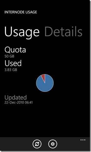 Screen grab of Internode Usage app