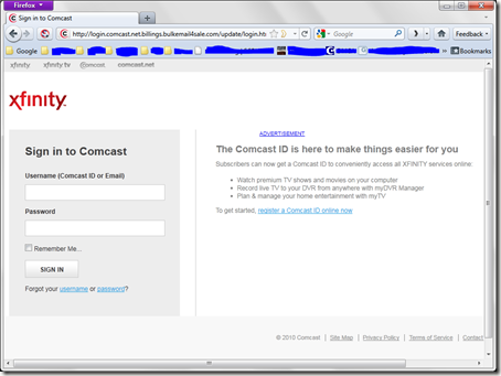 """Well formed Comcast phishing attempt - """"Update Your ..."""