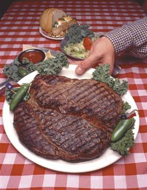 76-ounce steak at the Big Texan Steak House in Amarillo, Texas