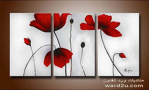 لوحات جميلة لديكور الغرف و الصالات Easy Acrylic Flower Paintings On Canvas