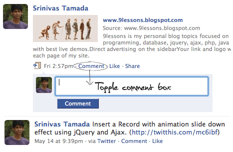 Facebook like multi Toggle Comment Box with  jQuery and PHP.