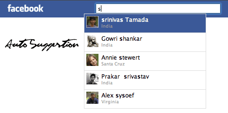 Facebook like Autosuggestion with jQuery, Ajax and PHP.