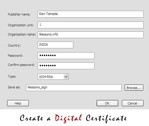 Adobe air digital certificate