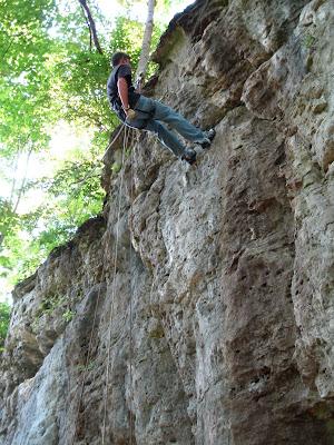 Decending a cliff edge at John Bryan
