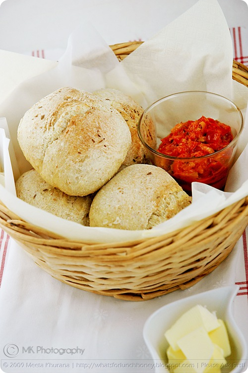 Saffron Wholemeal Whole Wheat Bread Rolls (03) by MeetaK