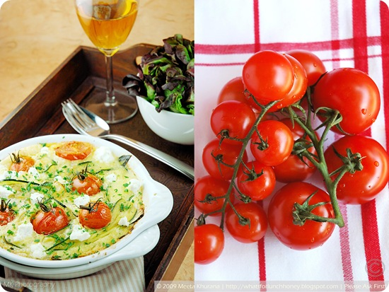 Tomato Zucchini & Goat Cheese Clafoutis (collage) by MeetaK