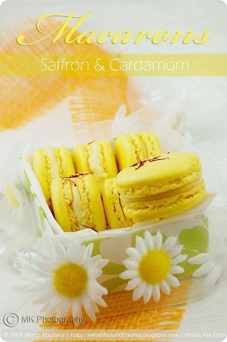 Saffron Macarons with Cardamom White Chocolate Ganache by MeetaK