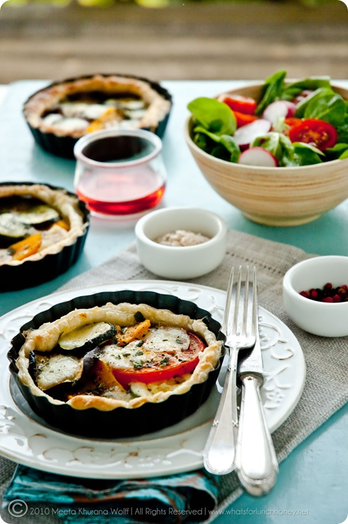 Roasted Pumpkin Aubergine Zucchini Tapenade Tarts with Buffalo Mozzarella (0001) by Meeta K. Wolff
