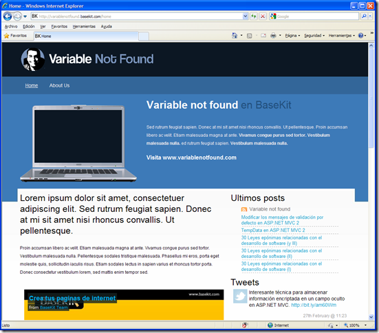 Variable not found en Basekit