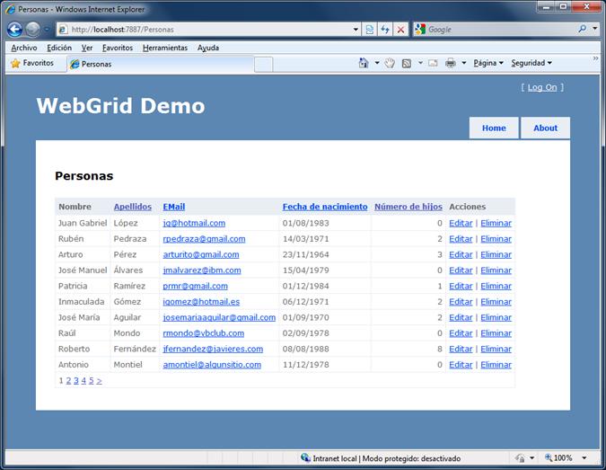 WebGrid, con columnas personalizadas