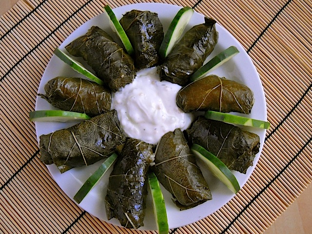 Dolmas Stuffed Grape Leaves plated on white plate with cucumber slices and sauce