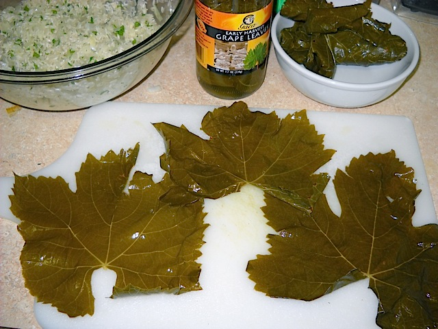 grape leaves ready to roll