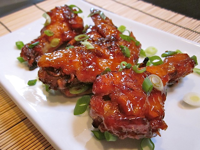 Asian Sticky Wings on white plates