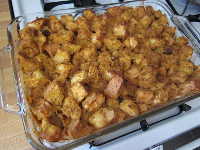 baked bread pudding in pan on top of stove