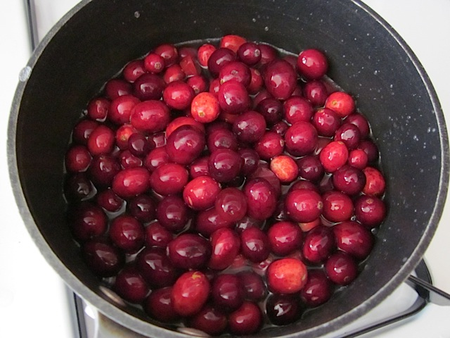 cranberries, water and sugar in pot