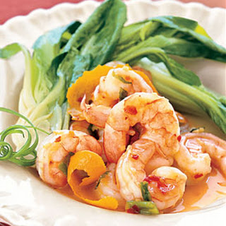 Spicy-Sweet Tangerine Shrimp with Baby Bok Choy.