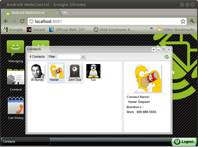 WebControl tablet and pc sms - screenshot