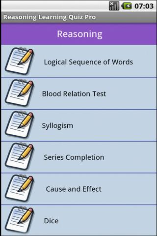 Reasoning Learning Quiz - screenshot