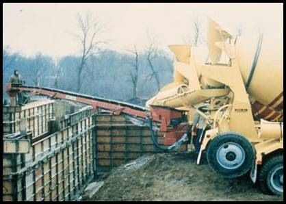 Fig. 11. A conveyor belt mounted on a truck mixer places concrete up to about 12 meters (40 feet) without the need for additional handling equipment.