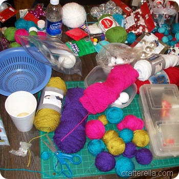 yarn blall wreath supplies