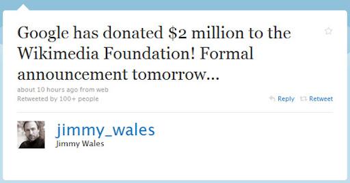 Google spendet Wikimedia 2 Mio US-$