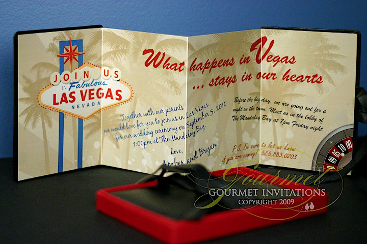 Las Vegas Wedding Invitation Wording: Amber + Bryan: Leather Las Vegas Wedding Invitations