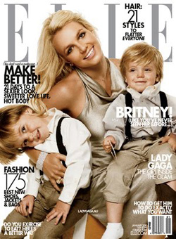 Britney Spears and her 2 sons on the cover of ELLE magazine