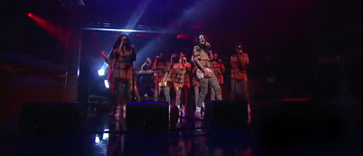 M.I.A and the M.I.A's perform 'Born free' on Letterman | Live performance