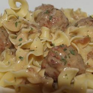Anna's Amazing Easy Pleasy Meatballs over Buttered Noodles.