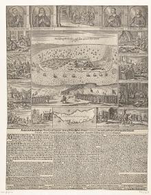Verovering van Fort Zeelandia op Formosa door de Chinezen en de marteling en moord op de gereformeerde predikanten, 1661, anoniem, Marx Anton Hannas, 1663