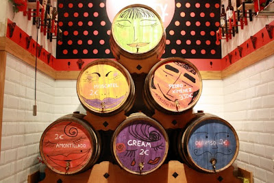 Colorful barrels at a market in Madrid Spain