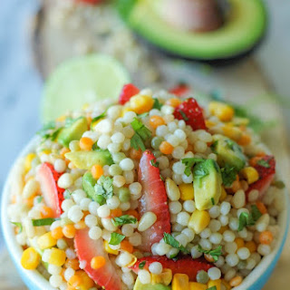 Strawberry Avocado Couscous Salad with Lime Vinaigrette.