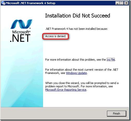 .NET Framework 4 Setup Error