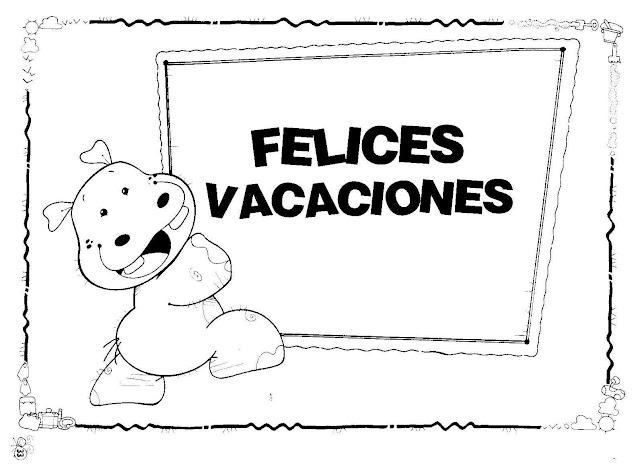 Carteles De Felices Vacaciones Para Colorear