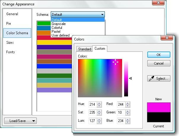 Customization of chart colors in Altova DatabaseSpy