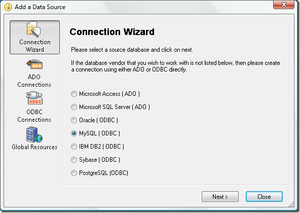 DatabaseSpy Connection Wizard