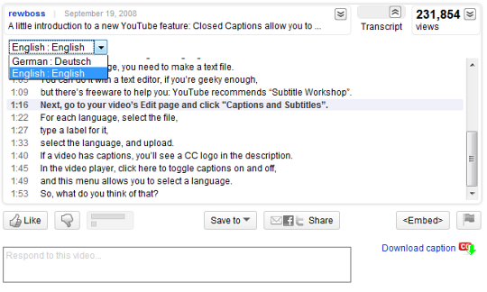 download youtube video with closed captions