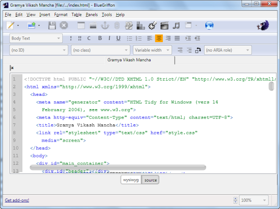 BlueGriffon: HTML5 and CSS3 Supported WYSIWYG Editor - Instant Fundas