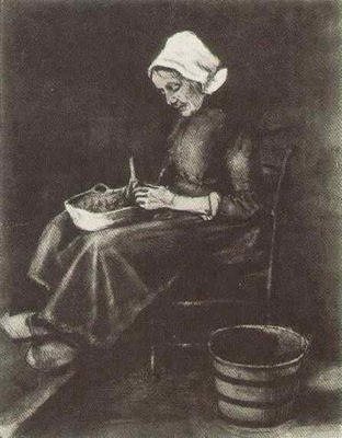 Woman Peeling Potatoes