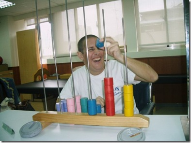 Peter playing with blocks at therapy
