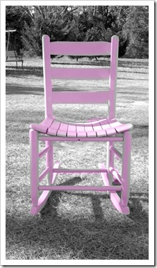 pink chair in black & white