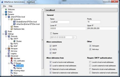 SharePoint Roots: SharePoint 2010 Incoming e-mail Settings on Windows 7